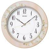 花柄模様が気品漂うデザイン掛時計(ピンク)