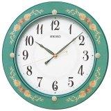 花柄模様が気品漂うデザイン掛時計(グリーン)