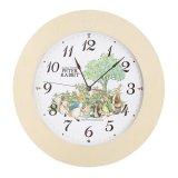 やさしい木枠の ピーターラビット可愛い掛時計(アイボリー)