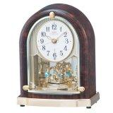 クリスタルの優雅な置き時計(濃茶色)