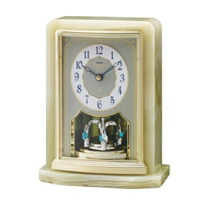 画像1: オニキス枠の高級置き時計。ご贈答品、記念品に最適な置時計