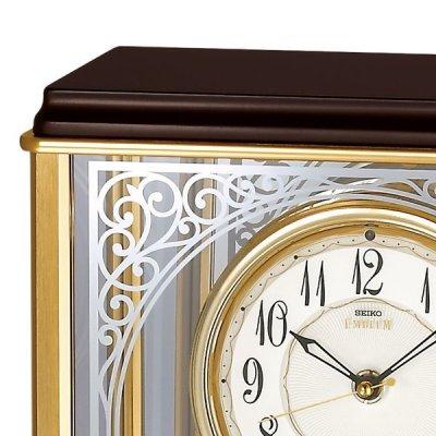 画像2: アールヌーボー調の唐草がガラスに煌めくモダンな高級置時計