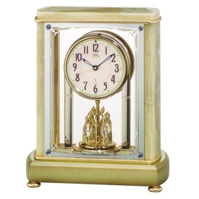 画像1: 希少な天然石(オニキス)デザイン置時計